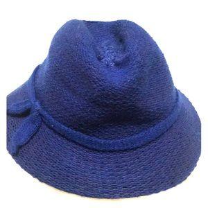 Navy blue Italian woven fedora hat vintage